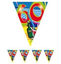 60-as Számos Színes Szülinapi Parti Zászlófüzér - 10 m