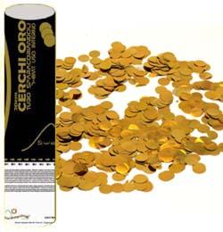 20 cm-es, Arany Színű Kerek Fólia Formákat Kilövő Konfetti Ágyú