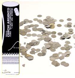 20 cm-es, Ezüst Színű Kerek Fólia Formákat Kilövő Konfetti Ágyú