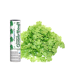 20 cm-es, Zöld Négylevelű Lóhere Formájú Konfettiket Kilövő Konfetti Ágyú