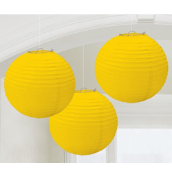 Sárga Színű Parti Gömb Lampion - 24 cm, 3 db-os