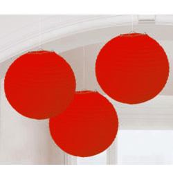 Piros Színű Parti Gömb Lampion - 24 cm, 3 db-os