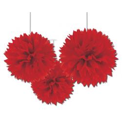 Piros Bolyhos Függő Dekoráció - 41 cm, 3 db-os