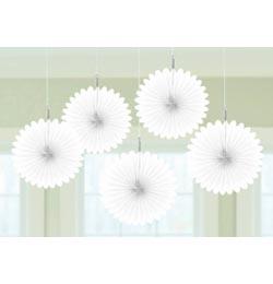 Fehér Legyezők Függő Dekoráció - 15,2 cm, 5 db-os