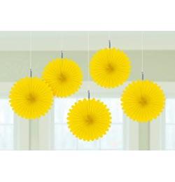 Sárga Legyezők Függő Dekoráció - 15,2 cm, 5 db-os