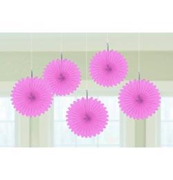 Rózsaszín Legyezők Függő Dekoráció - 15,2 cm, 5 db-os