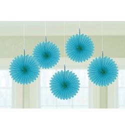 Kék Legyezők Függő Dekoráció - 15,2 cm, 5 db-os