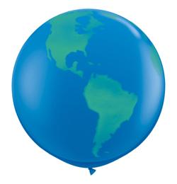 3 feet-es Globe Dark Blue Földgömb Lufi (2 db/csomag)
