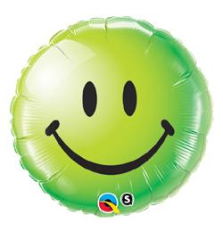 18 inch-es Zöld Mosolygós Arc - Smile Face Green Fólia Lufi