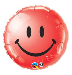 18 inch-es Piros Mosolygós Arc - Smile Face Red Fólia Lufi