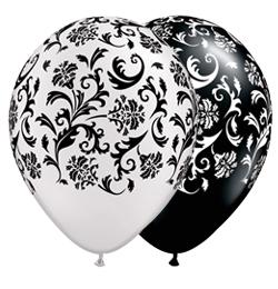 11 inch-es Damask Print-A-Round White és Black Asst. Lufi (25 db/csomag)