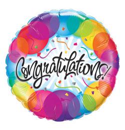 18 inch-es Gratulálunk - Congratulations Balloons Fólia Lufi