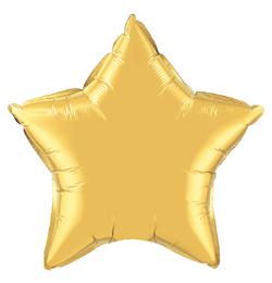 4 inch-es Metál Arany - Metallic Gold Csillag Fólia Lufi (5 db/csomag)