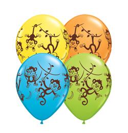11 inch-es Mischievous Monkeys - Csintalan Majmok Assorted Lufi (25 db/csomag)
