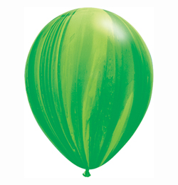 11 inch-es Green Rainbow SuperAgate Kerek Latex Lufi (25 db/csomag)