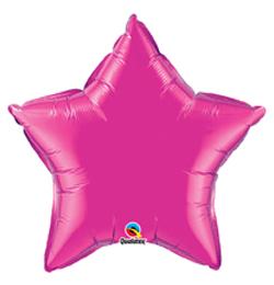9 inch-es Sötét Rózsaszín - Magenta Csillag Fólia Lufi (5 db/csomag)