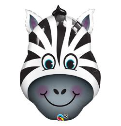 14 inch-es Zany Zebra - Zebra Fej Fólia Lufi (5 db/csomag)