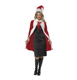 Piros Fehér Köpeny és Sapka Karácsonyra Hölgyeknek