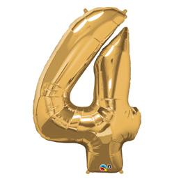 34 inch-es Number 4 Gold - Arany Számos Fólia Lufi