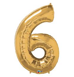 34 inch-es Number 6 Gold - Arany Számos Fólia Lufi