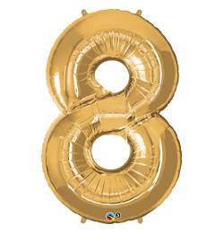 34 inch-es Number 8 Gold - Arany Számos Fólia Lufi