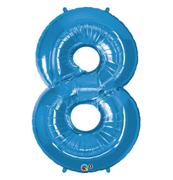 34 inch-es Number 8 Sapphire Blue - Zafírkék Számos Fólia Lufi
