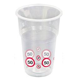 50-es Sebességkorlátozó Számos Szülinapi Műanyag Parti Pohár - 350 ml, 10 db-os