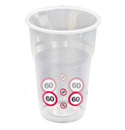 60-as Sebességkorlátozó Számos Szülinapi Műanyag Parti Pohár - 350 ml, 10 db-os