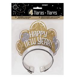 Bubbly New Year Glitteres Parti Tiara Szilveszterre - 4 db-os