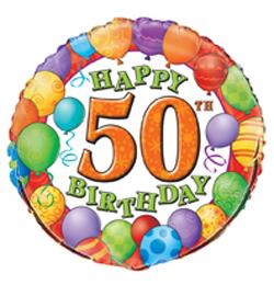 18 inch-es 50th Birthday Balloons - Léggömbös Szülinapi Számos Fólia Lufi