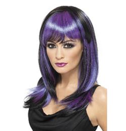 Fekete-Lila Glamour Boszorkány Parti Paróka