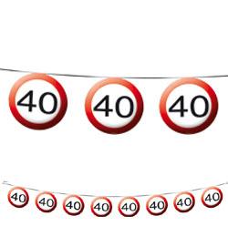 40-es Sebességkorlátozó Szülinapi Parti Füzér - 12 m