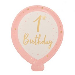 Pink 1st Birthday Lufi Alakú Papír Tányér Első Szülinapra - 25 cm-es, 8 db-os