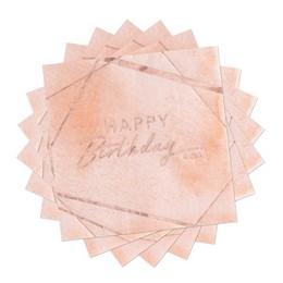 Pink és Rosegold Elegáns Szülinapi Parti Szalvéta - 33 cm x 33 cm, 16 db-os