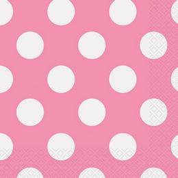 Pink-Fehér Pöttyös Parti Szalvéta - 33 cm x 33 cm, 16 db-os