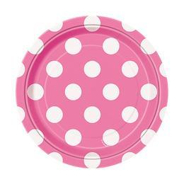 Pink-Fehér Pöttyös Parti Tányér - 18 cm, 8 db-os