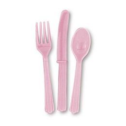 Halvány Rózsaszín Műanyag Parti Evőeszköz Válogatás - 18 db-os