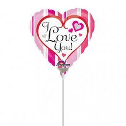 9 inch-es Pink Stripes I Love You Mini Shape Fólia (5 db/csomag)