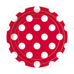 Piros-Fehér Pöttyös Parti Tányér - 18 cm, 8 db-os