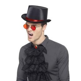Piros-Fekete Gótikus Szett Kalappal, Szemüveggel és Zsabóval