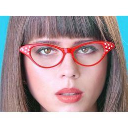 Piros Strasszos Cica Szemüveg