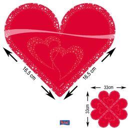 Piros Szív Formájú Parti Szalvéta - 33 cm x 33 cm, 20 db-os