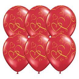 11 inch-es Romantic Heart - Arany Szíves Mintás Ruby Red Lufi (25 db/csomag)