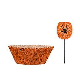 Narancssárga Pókhálós Muffin Tartó Forma És Falatka Pálcika - 48 Db-os