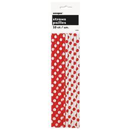 Piros Fehér Pöttyös Parti Szívószál Karácsonyra, 10 db-os