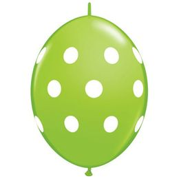 12 inch-es Big Polka Dots Lime Green Quick Link Lufi (50 db/csomag)