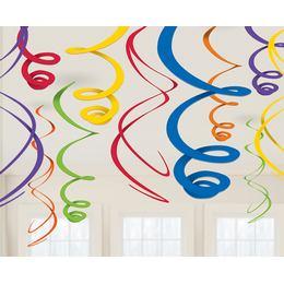 Rainbow Színes Spirális Függő Dekoráció - 55 cm, 12 db-os