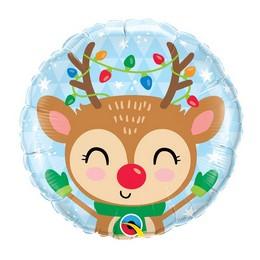 18 inch-es Rénszarvas Karácsonyfa Díszekkel - Reindeerr & Colored Lights Fólia Lufi