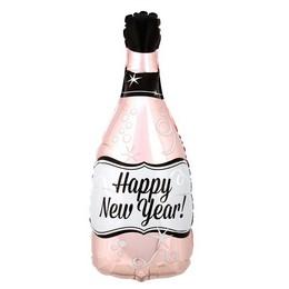 Rosegold Színű Happy New Year Feliratú Pezsgősüveg Fólia Lufi Szilveszterre