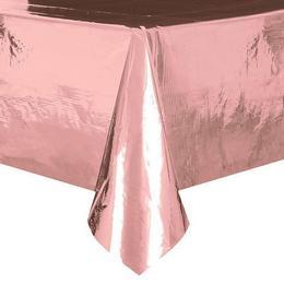 Rózsaarany - Rose Gold Műanyag Parti Asztalterítő - 137 cm x 274 cm